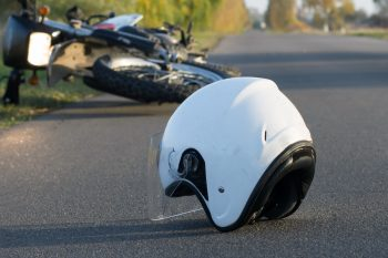 helmet and motorcycle after accident