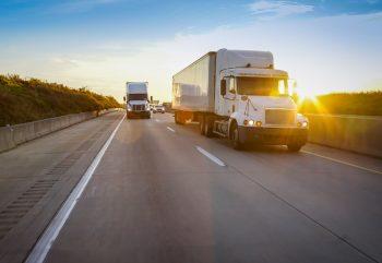 semi trucks on the road