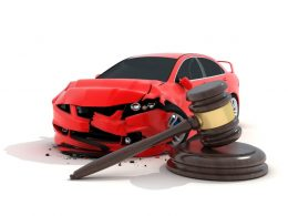 wrecked car and gavel