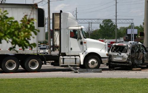 tractor-trailer hitting a car