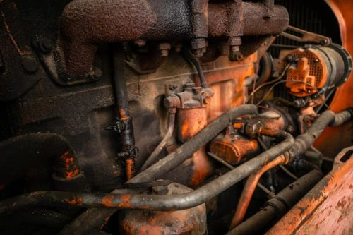 old rusty truck engine