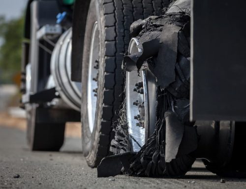 tire blowout on a tractor-trailer